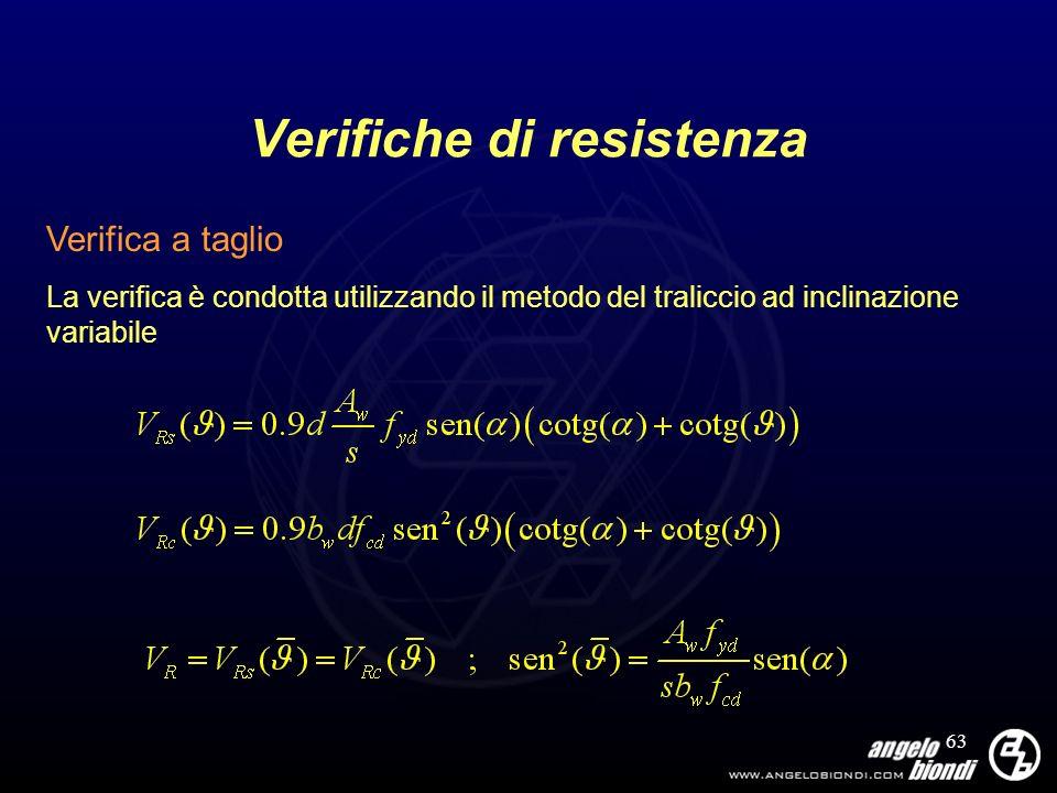 63 Verifiche di resistenza Verifica a taglio La verifica è condotta utilizzando il metodo del traliccio ad inclinazione variabile