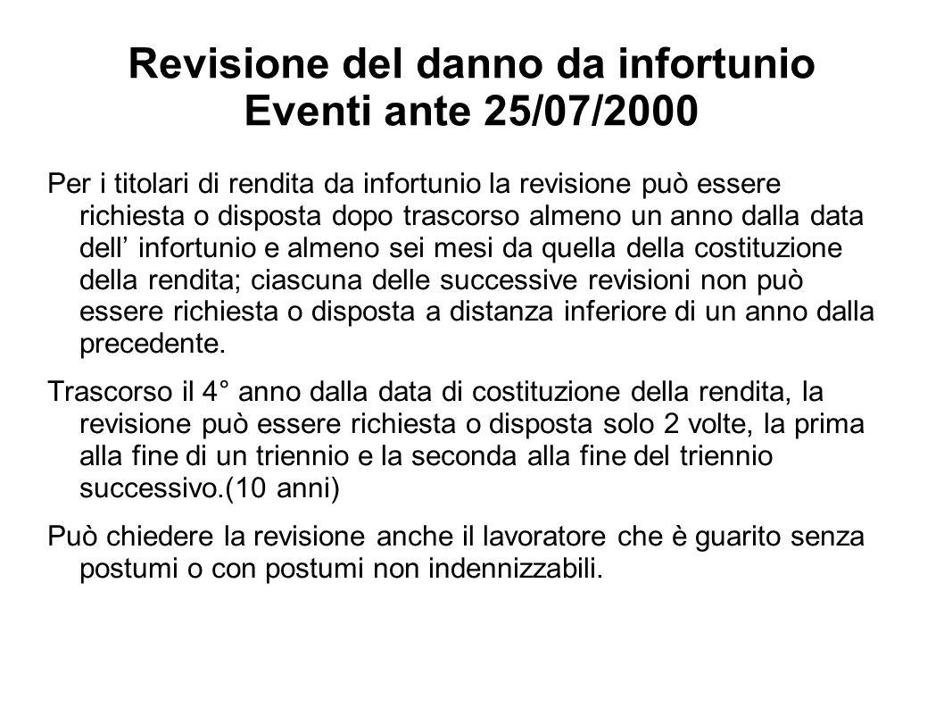 Revisione del danno da infortunio Eventi ante 25/07/2000 Per i titolari di rendita da infortunio la revisione può essere richiesta o disposta dopo tra