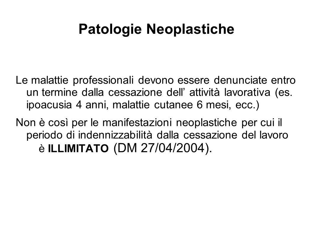 Patologie Neoplastiche Le malattie professionali devono essere denunciate entro un termine dalla cessazione dell attività lavorativa (es. ipoacusia 4
