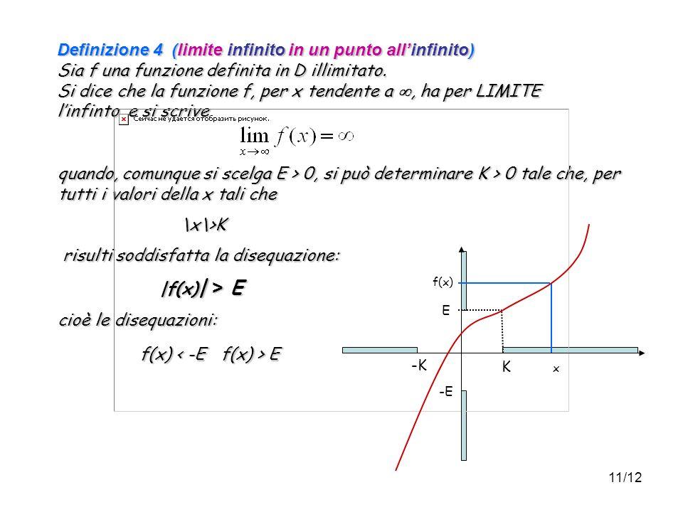 11/12 Definizione 4 (limite infinito in un punto allinfinito) Sia f una funzione definita in D illimitato.