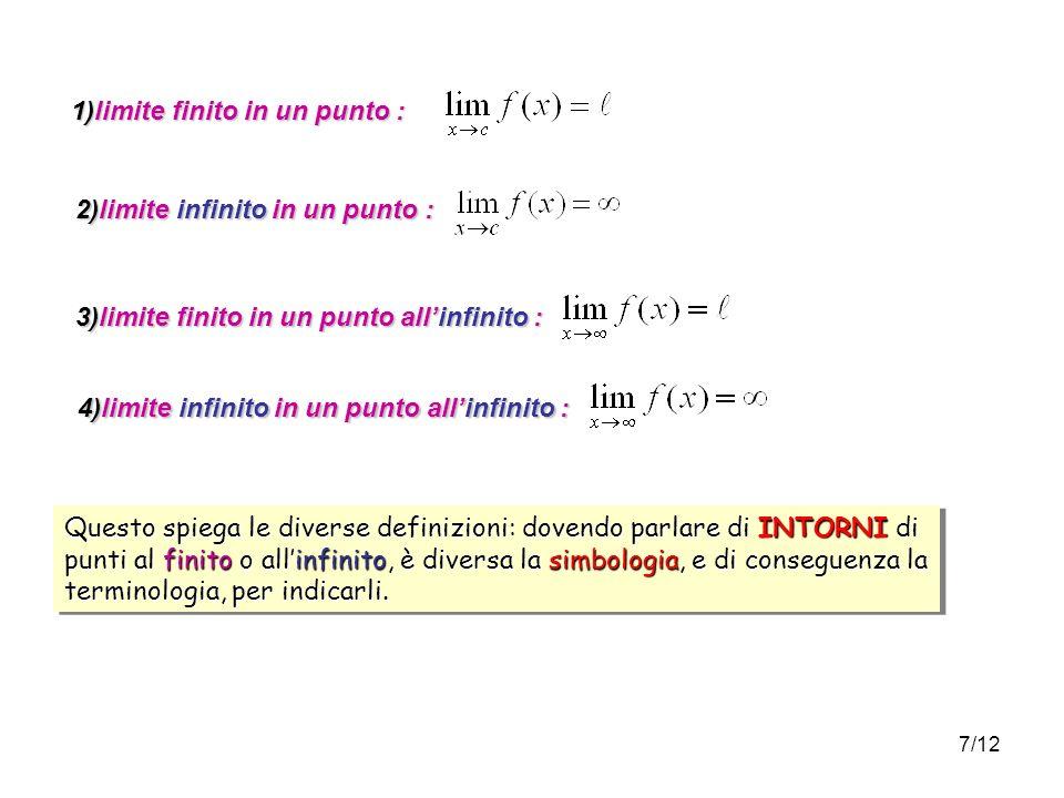 7/12 1)limite finito in un punto : 2)limite infinito in un punto : 3)limite finito in un punto allinfinito : 4)limite infinito in un punto allinfinito : Questo spiega le diverse definizioni: dovendo parlare di INTORNI di punti al finito o allinfinito, è diversa la simbologia, e di conseguenza la terminologia, per indicarli.