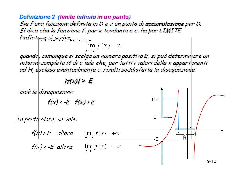 9/12 Definizione 2 (limite infinito in un punto) Sia f una funzione definita in D e c un punto di accumulazione per D.