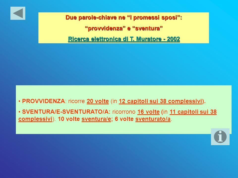 Due parole-chiave ne I promessi sposi: provvidenza e sventura Ricerca elettronica di T. Muratore - 2002 Ricerca elettronica di T. Muratore - 2002 PROV