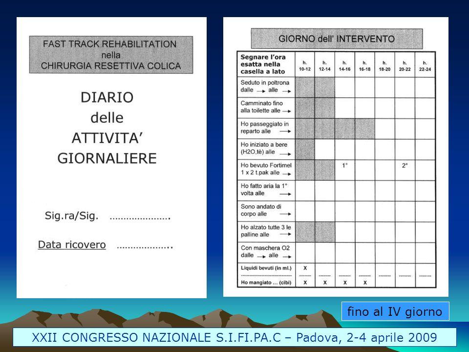 fino al IV giorno XXII CONGRESSO NAZIONALE S.I.FI.PA.C – Padova, 2-4 aprile 2009