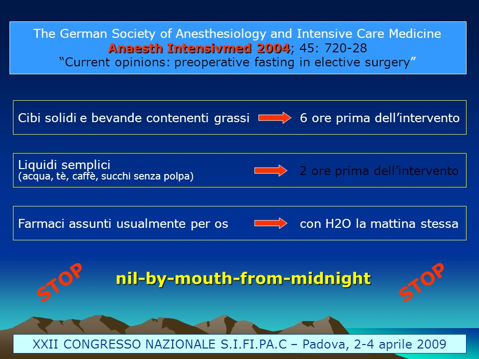 The German Society of Anesthesiology and Intensive Care Medicine Anaesth Intensivmed 2004 Anaesth Intensivmed 2004; 45: 720-28 Current opinions: preop