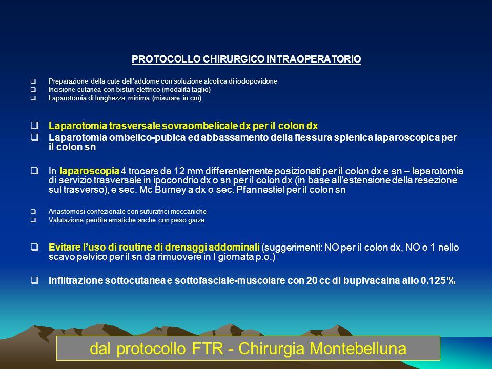 PROTOCOLLO CHIRURGICO INTRAOPERATORIO Preparazione della cute delladdome con soluzione alcolica di iodopovidone Incisione cutanea con bisturi elettric