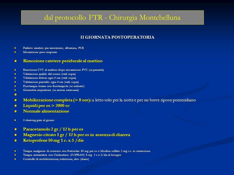 II GIORNATA POSTOPERATORIA Prelievo ematico per emocromo, albumina, PCR Prelievo ematico per emocromo, albumina, PCR Misurazione peso corporeo Misuraz