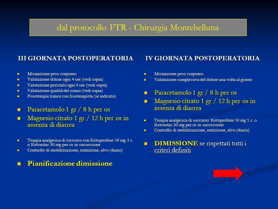 III GIORNATA POSTOPERATORIA Misurazione peso corporeo Misurazione peso corporeo Valutazione dolore ogni 4 ore (vedi sopra) Valutazione dolore ogni 4 o