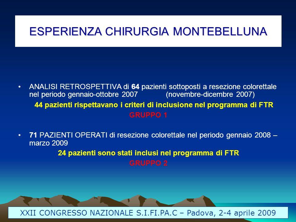 ESPERIENZA CHIRURGIA MONTEBELLUNA ANALISI RETROSPETTIVA di 64 pazienti sottoposti a resezione colorettale nel periodo gennaio-ottobre 2007(novembre-di