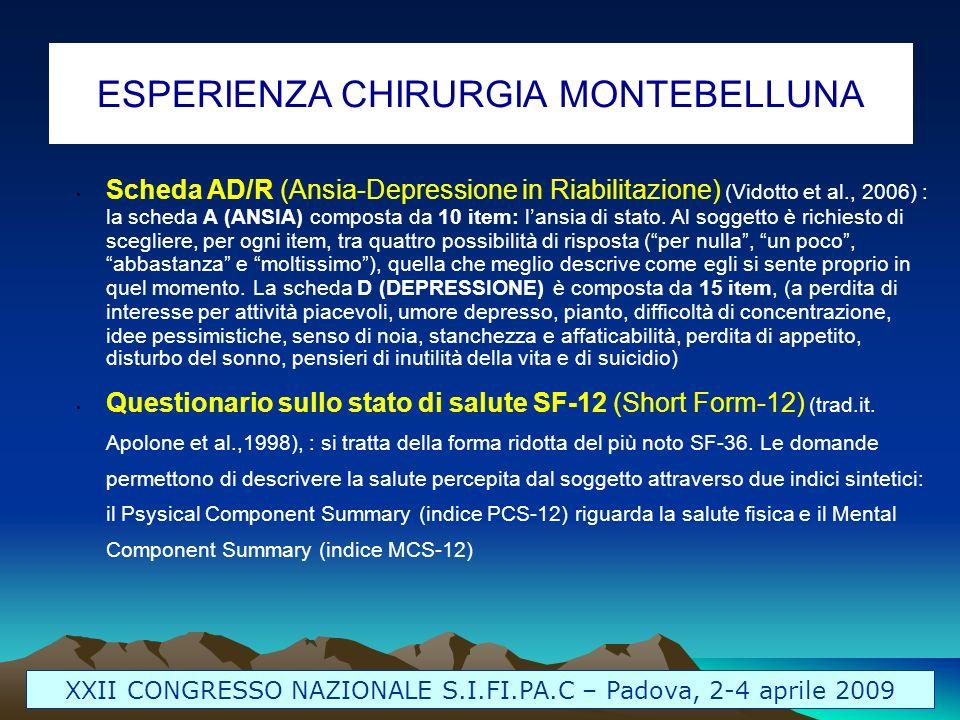 XXII CONGRESSO NAZIONALE S.I.FI.PA.C – Padova, 2-4 aprile 2009 ESPERIENZA CHIRURGIA MONTEBELLUNA Scheda AD/R (Ansia-Depressione in Riabilitazione) (Vi