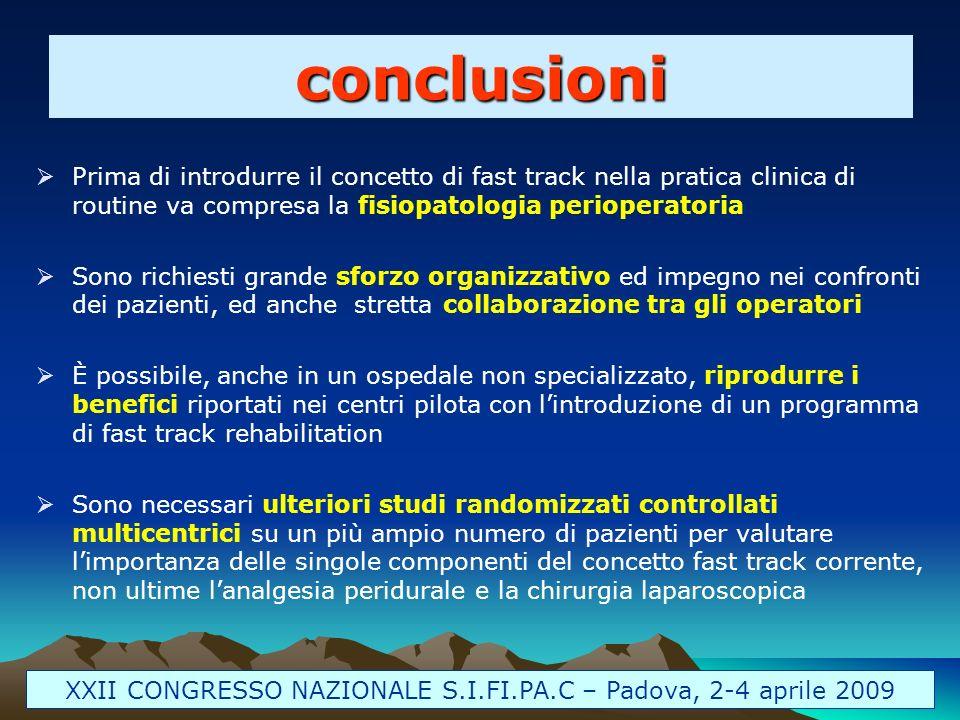 Prima di introdurre il concetto di fast track nella pratica clinica di routine va compresa la fisiopatologia perioperatoria Sono richiesti grande sfor