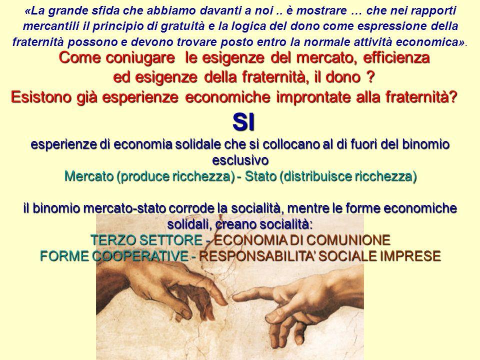 Come coniugare le esigenze del mercato, efficienza ed esigenze della fraternità, il dono .