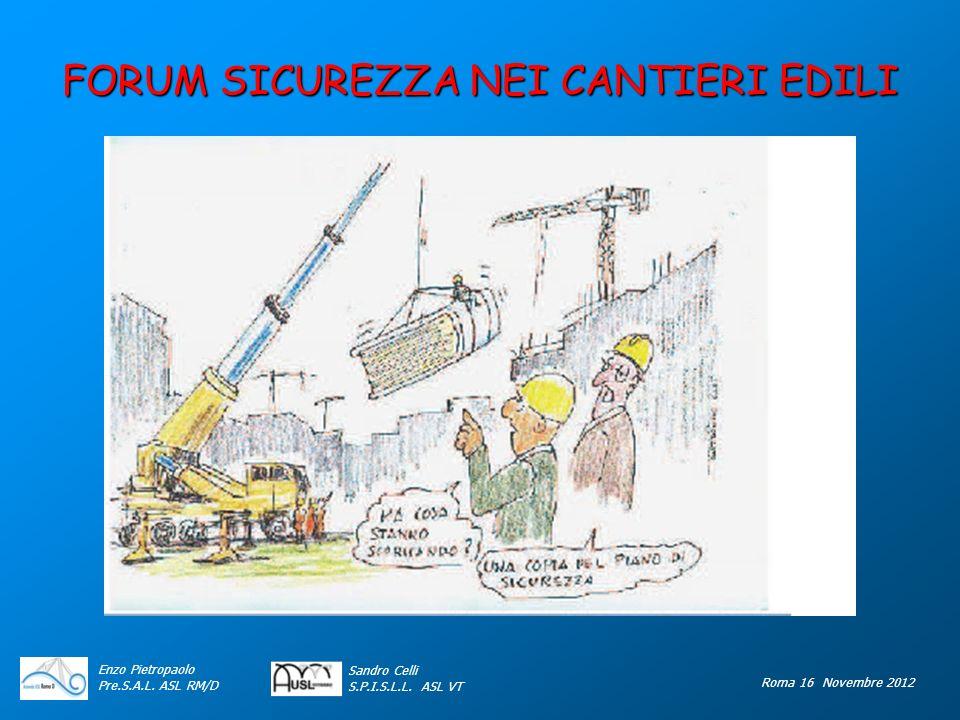 FORUM SICUREZZA NEI CANTIERI EDILI Enzo Pietropaolo Pre.S.A.L. ASL RM/D Roma 16 Novembre 2012 Sandro Celli S.P.I.S.L.L. ASL VT