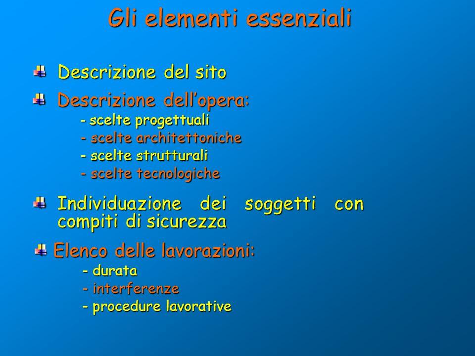 Gli elementi essenziali Descrizione del sito Descrizione del sito Descrizione dellopera: - scelte progettuali - scelte architettoniche - scelte strutt