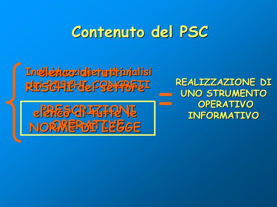 Individuazione ed analisi dei RISCHI CONCRETI Contenuto del PSC PRESCRIZIONIOPERATIVE REALIZZAZIONE DI UNO STRUMENTO OPERATIVO OPERATIVOINFORMATIVO =