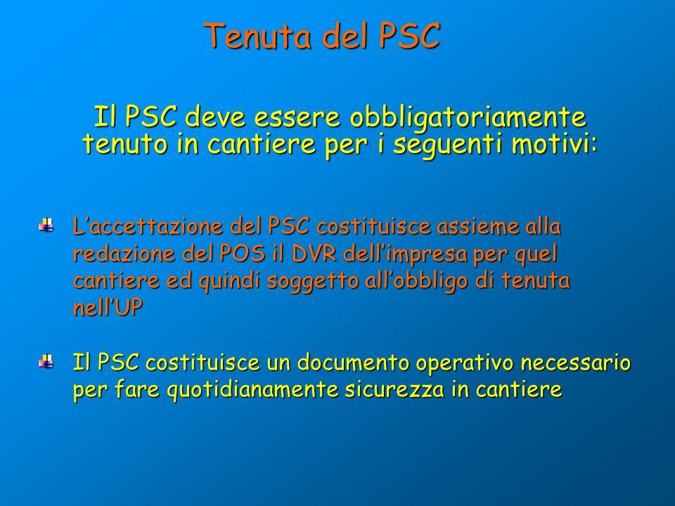 Laccettazione del PSC costituisce assieme alla redazione del POS il DVR dellimpresa per quel cantiere ed quindi soggetto allobbligo di tenuta nellUP I