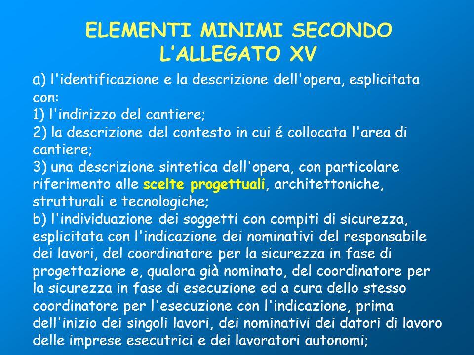 a ) l'identificazione e la descrizione dell'opera, esplicitata con: 1) l'indirizzo del cantiere; 2) la descrizione del contesto in cui é collocata l'a