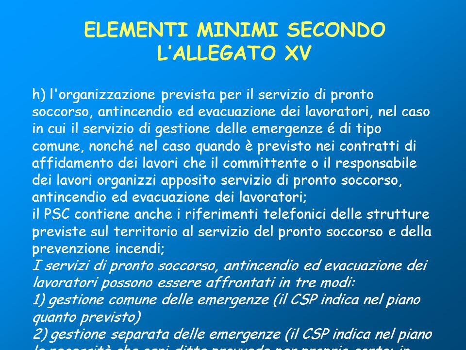 h) l'organizzazione prevista per il servizio di pronto soccorso, antincendio ed evacuazione dei lavoratori, nel caso in cui il servizio di gestione de
