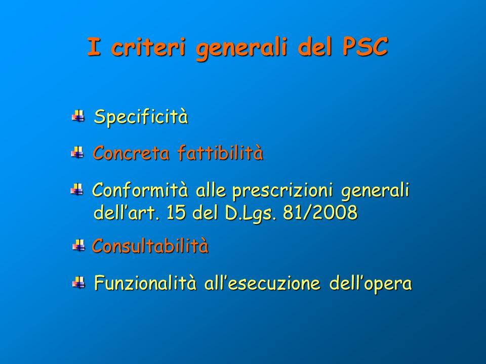 I criteri generali del PSC Specificità Specificità Concreta fattibilità Concreta fattibilità Conformità alle prescrizioni generali dellart. 15 del D.L