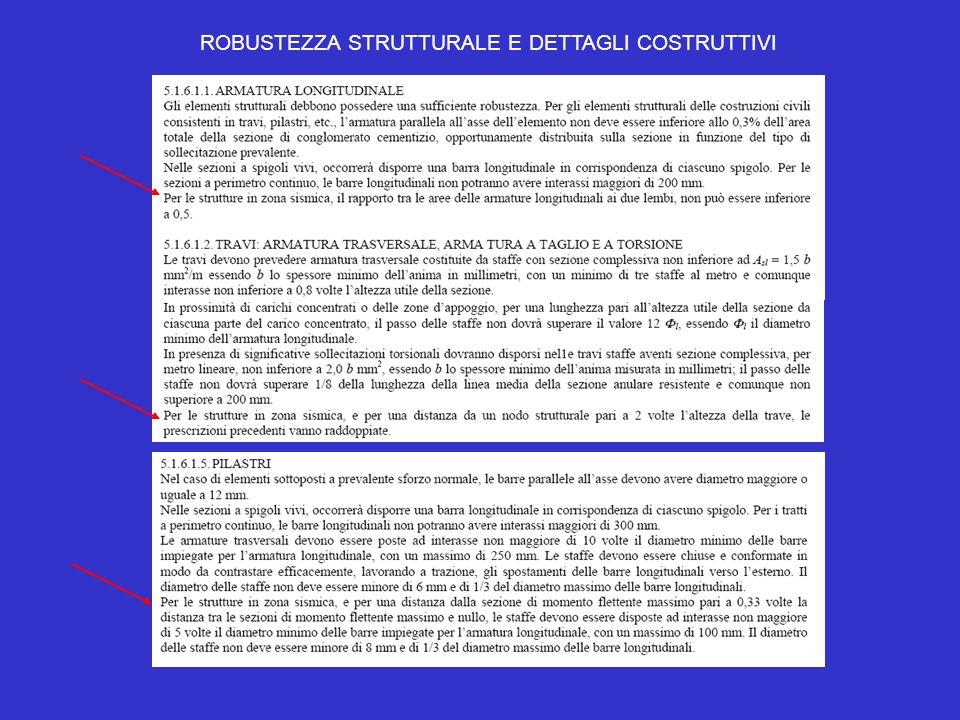 ROBUSTEZZA STRUTTURALE E DETTAGLI COSTRUTTIVI