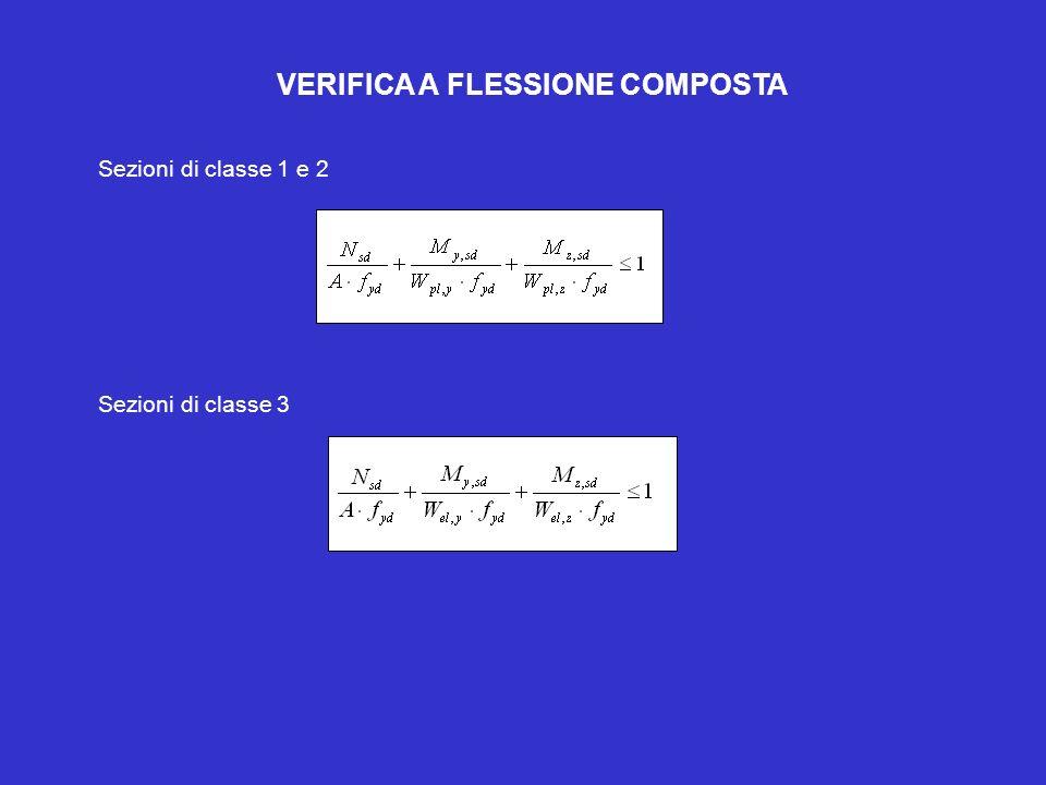 VERIFICA A FLESSIONE COMPOSTA Sezioni di classe 1 e 2 Sezioni di classe 3