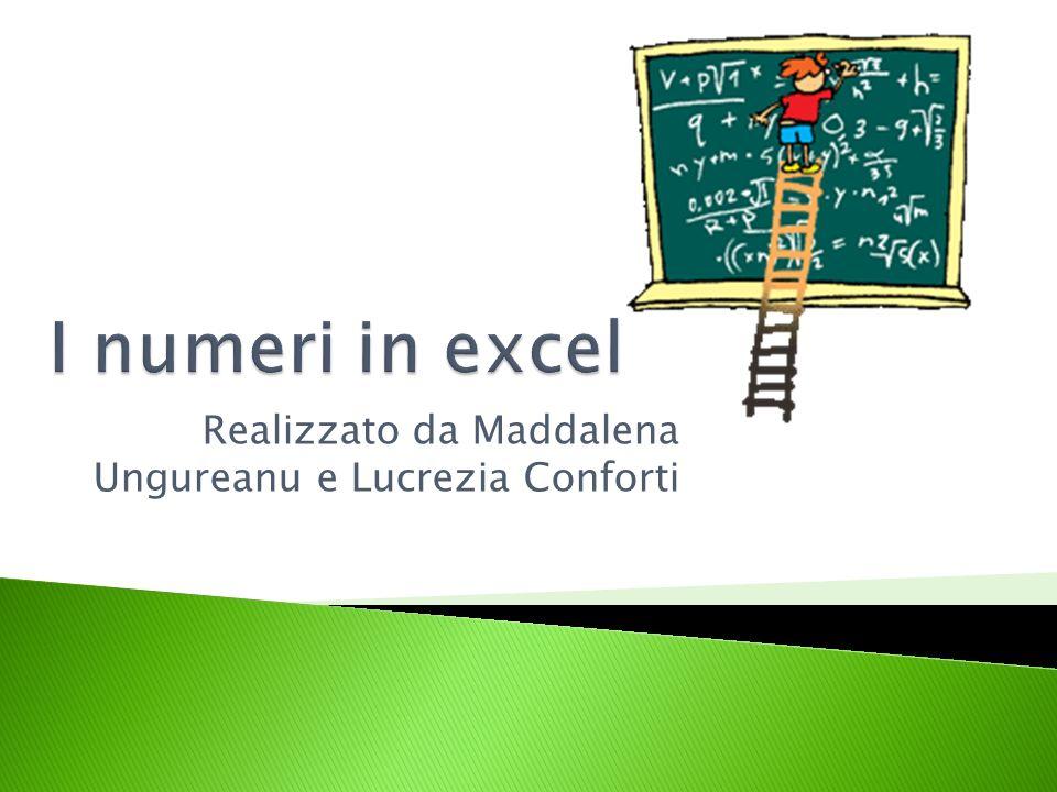 Excel è un programma che consente di organizzare numeri e calcoli in varie tabelle o grafici quindi è importante saper scrivere i numeri sotto varie forme (frazione, percentuale, ora,…)