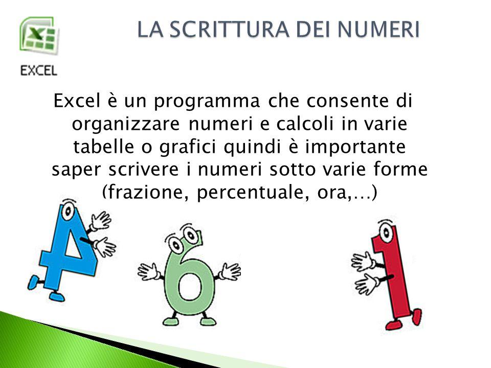 Innanzitutto bisogna inserire il numero nella casella di Excel: Ora trasformeremo il numero in: Valuta Contabilità Data in cifre Data estesa Ora Percentuale Frazione Scientifico
