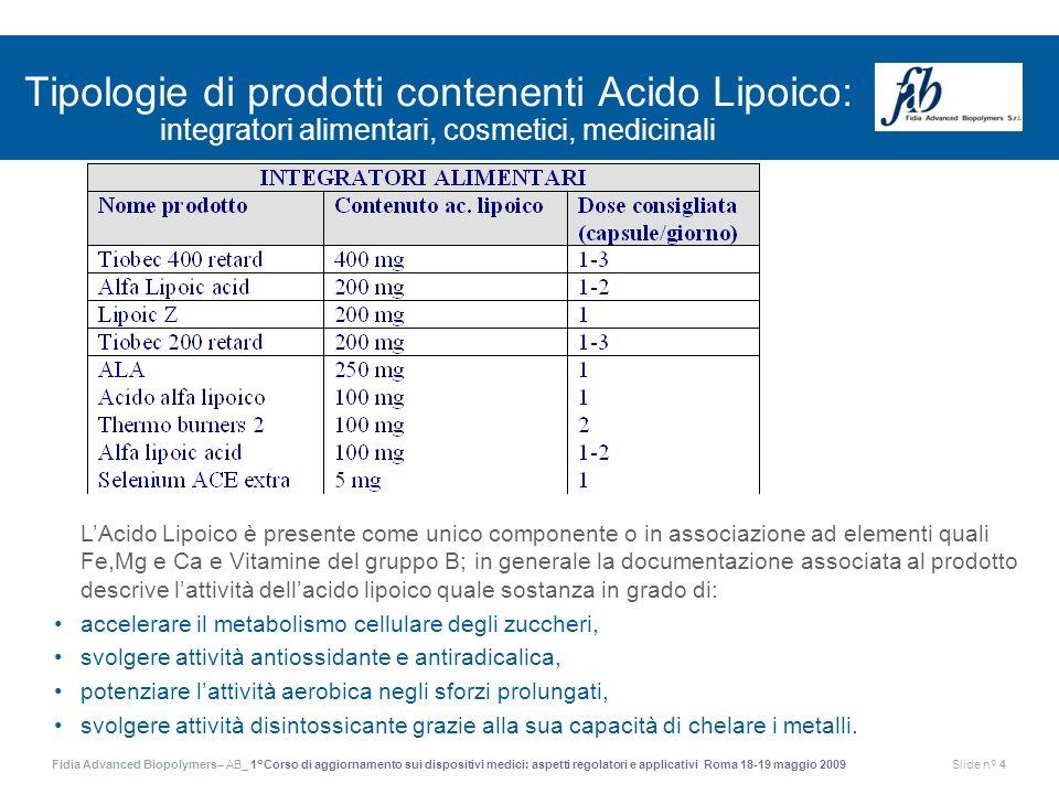 Fidia Advanced Biopolymers– AB_ 1°Corso di aggiornamento sui dispositivi medici: aspetti regolatori e applicativi Roma 18-19 maggio 2009Slide n° 4 Tip