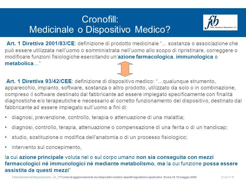 Fidia Advanced Biopolymers– AB_ 1°Corso di aggiornamento sui dispositivi medici: aspetti regolatori e applicativi Roma 18-19 maggio 2009Slide n° 9 Art
