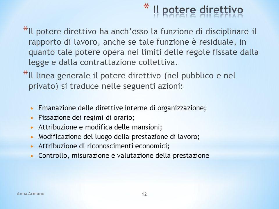 Anna Armone 12 * Il potere direttivo ha anchesso la funzione di disciplinare il rapporto di lavoro, anche se tale funzione è residuale, in quanto tale