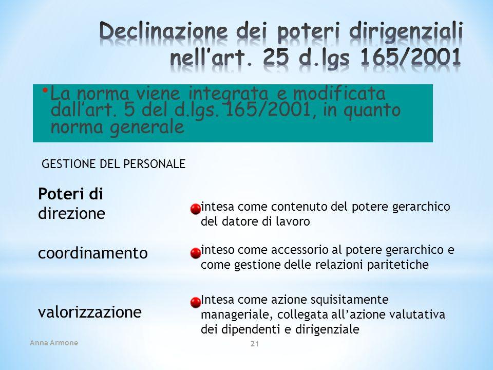 Anna Armone 21 La norma viene integrata e modificata dallart. 5 del d.lgs. 165/2001, in quanto norma generale Poteri di direzione coordinamento valori