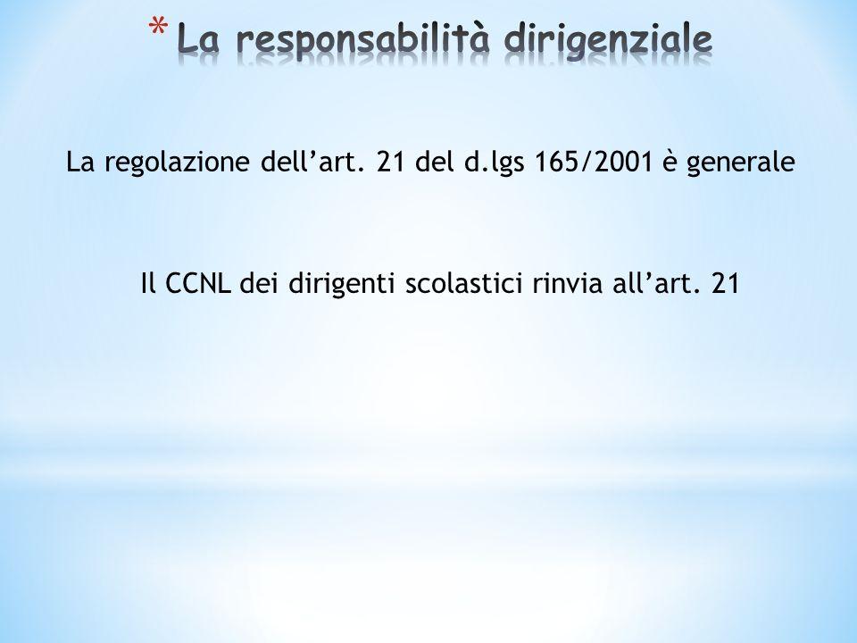 La regolazione dellart. 21 del d.lgs 165/2001 è generale Il CCNL dei dirigenti scolastici rinvia allart. 21