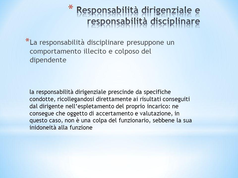* La responsabilità disciplinare presuppone un comportamento illecito e colposo del dipendente la responsabilità dirigenziale prescinde da specifiche