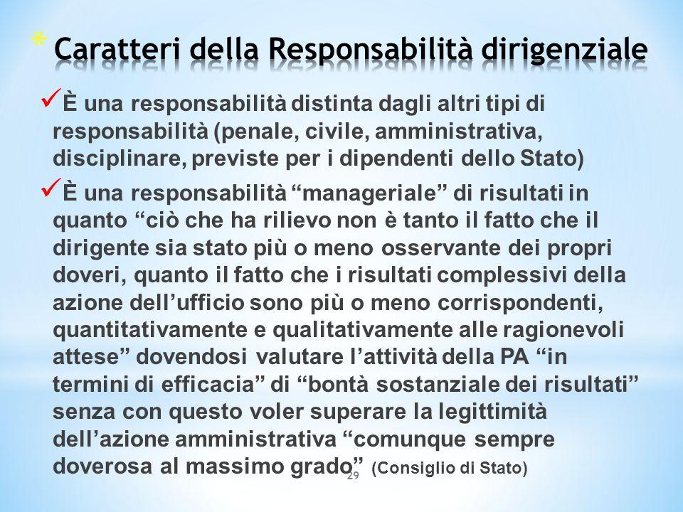 29 È una responsabilità distinta dagli altri tipi di responsabilità (penale, civile, amministrativa, disciplinare, previste per i dipendenti dello Sta