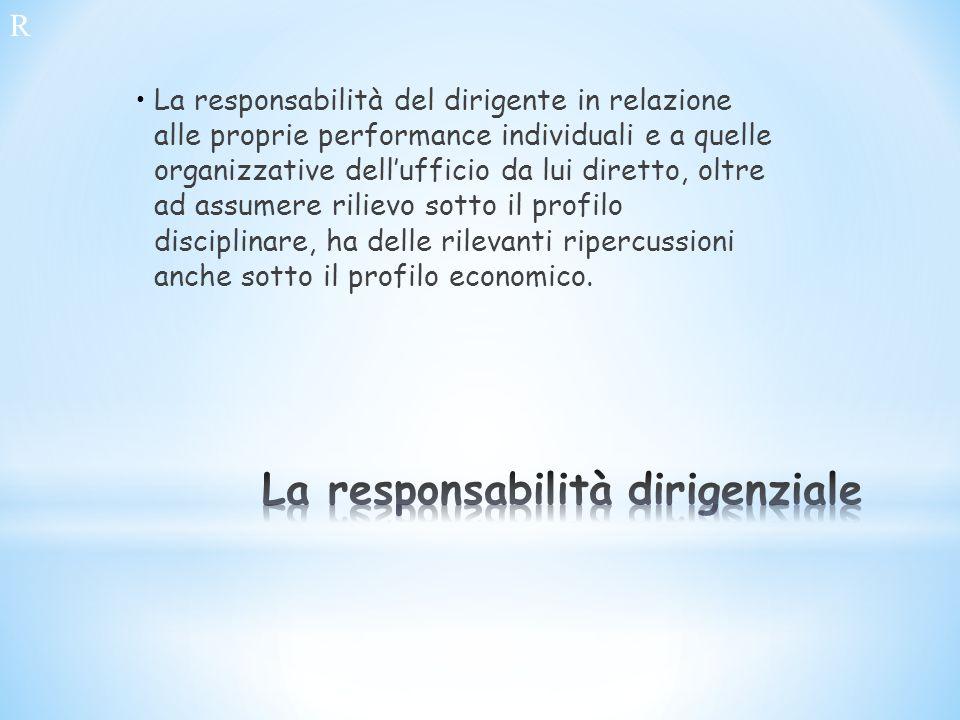 La responsabilità del dirigente in relazione alle proprie performance individuali e a quelle organizzative dellufficio da lui diretto, oltre ad assume