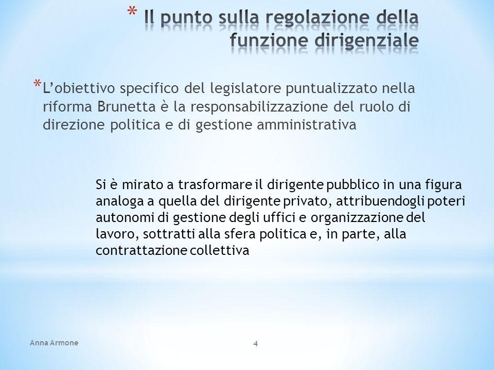 Anna Armone 4 * Lobiettivo specifico del legislatore puntualizzato nella riforma Brunetta è la responsabilizzazione del ruolo di direzione politica e