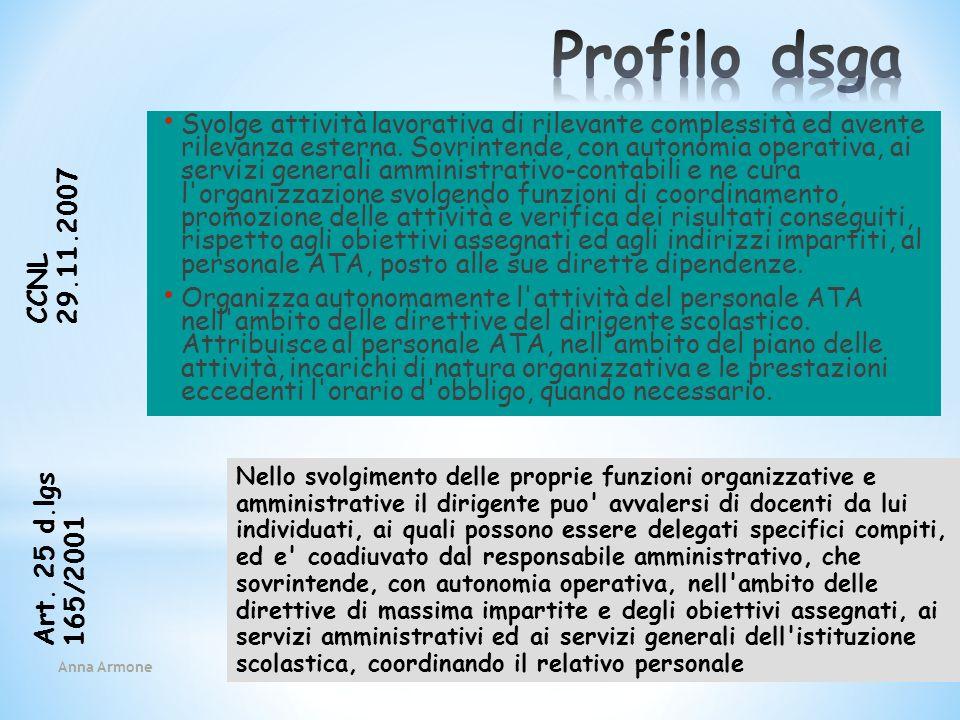 Anna Armone 40 Svolge attività lavorativa di rilevante complessità ed avente rilevanza esterna. Sovrintende, con autonomia operativa, ai servizi gener