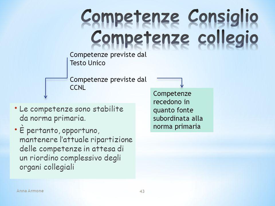 Anna Armone 43 Le competenze sono stabilite da norma primaria. È pertanto, opportuno, mantenere lattuale ripartizione delle competenze in attesa di un