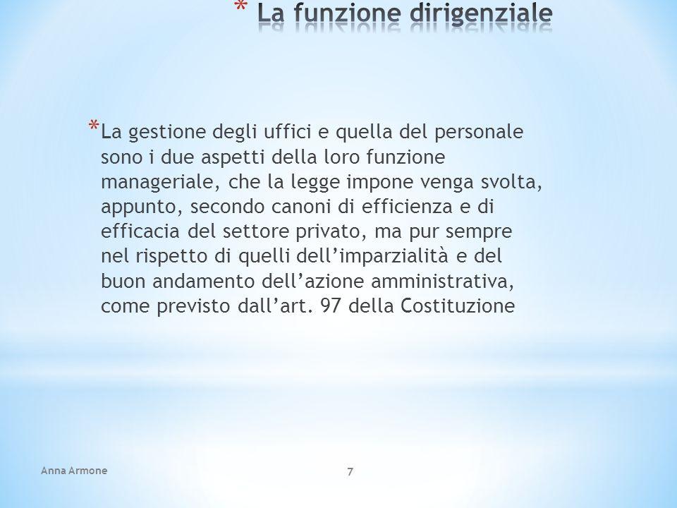 Anna Armone 7 * La gestione degli uffici e quella del personale sono i due aspetti della loro funzione manageriale, che la legge impone venga svolta,