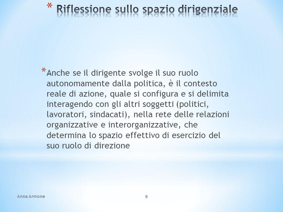 Anna Armone 20 * Il legislatore della Riforma Brunetta non è intervenuto sul profilo dirigenziale in quanto «dirigenza speciale».