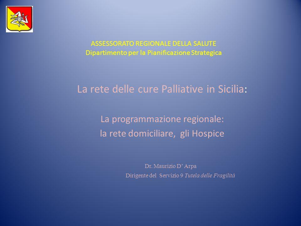 ASSESSORATO REGIONALE DELLA SALUTE Dipartimento per la Pianificazione Strategica La rete delle cure Palliative in Sicilia: La programmazione regionale