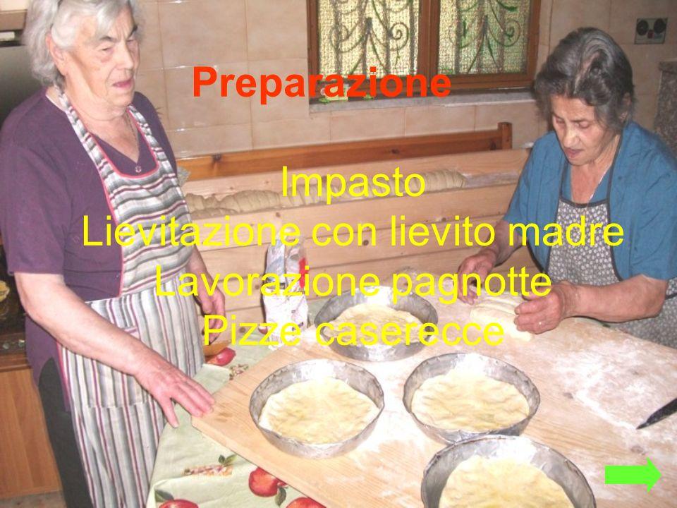Preparazione Impasto Lievitazione con lievito madre Lavorazione pagnotte Pizze caserecce