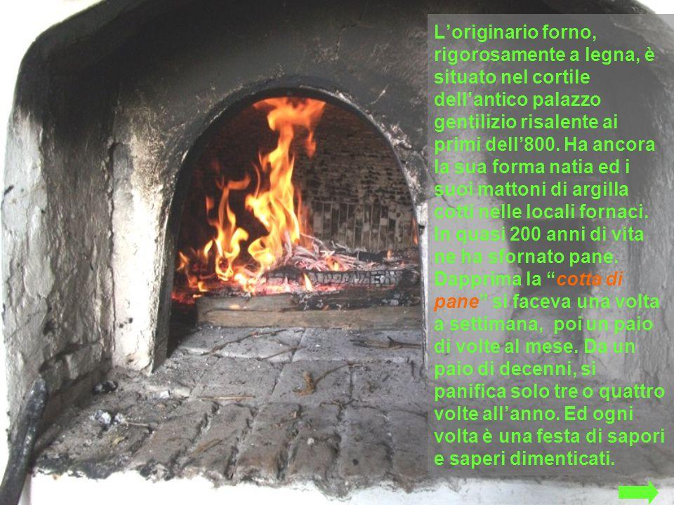Loriginario forno, rigorosamente a legna, è situato nel cortile dellantico palazzo gentilizio risalente ai primi dell800. Ha ancora la sua forma natia