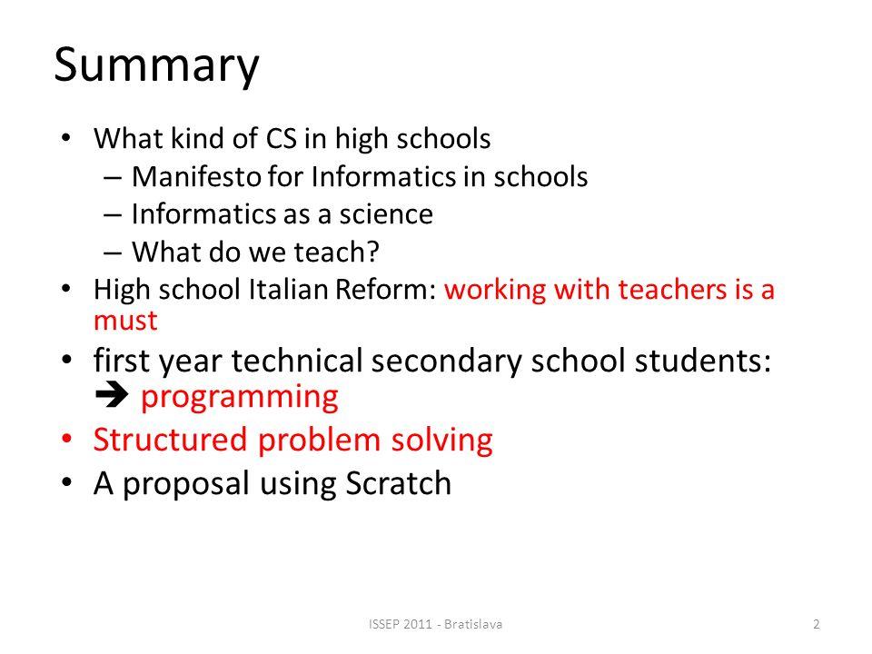 What Informatics in high schools.