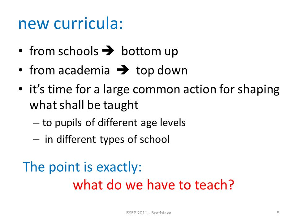 A proposal for the curriculum of the first year in Secondary School N.