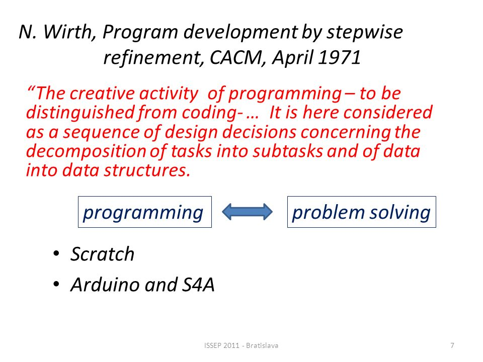 N. Wirth, Program development by stepwise refinement, CACM, April 1971 Scratch Arduino and S4A The creative activity of programming – to be distinguis