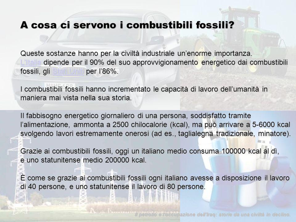 A cosa ci servono i combustibili fossili? Queste sostanze hanno per la civiltà industriale unenorme importanza. LItaliaLItalia dipende per il 90% del