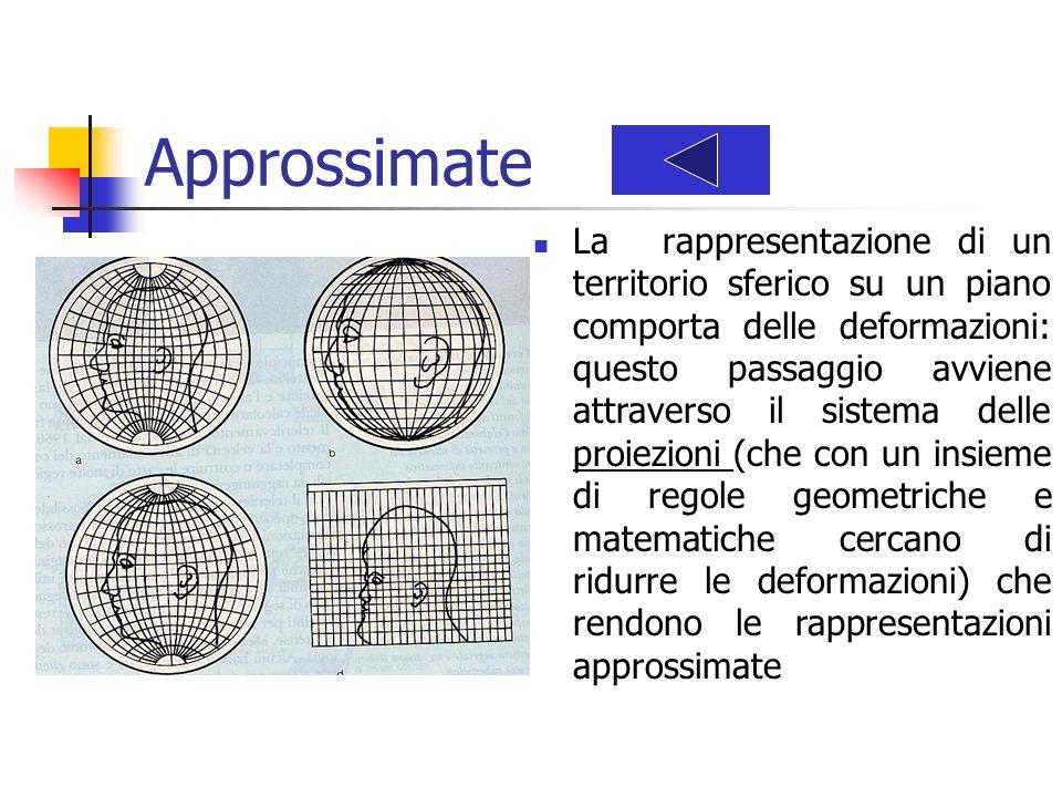 Approssimate La rappresentazione di un territorio sferico su un piano comporta delle deformazioni: questo passaggio avviene attraverso il sistema dell