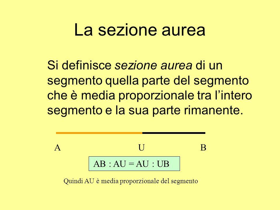 La sezione aurea Si definisce sezione aurea di un segmento quella parte del segmento che è media proporzionale tra lintero segmento e la sua parte rim