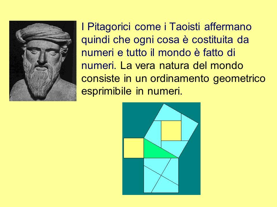I Pitagorici come i Taoisti affermano quindi che ogni cosa è costituita da numeri e tutto il mondo è fatto di numeri. La vera natura del mondo consist